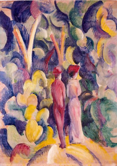 Macke, August: Couple on the Forest Track. Fine Art Print/Poster. Sizes: A4/A3/A2/A1 (004333)